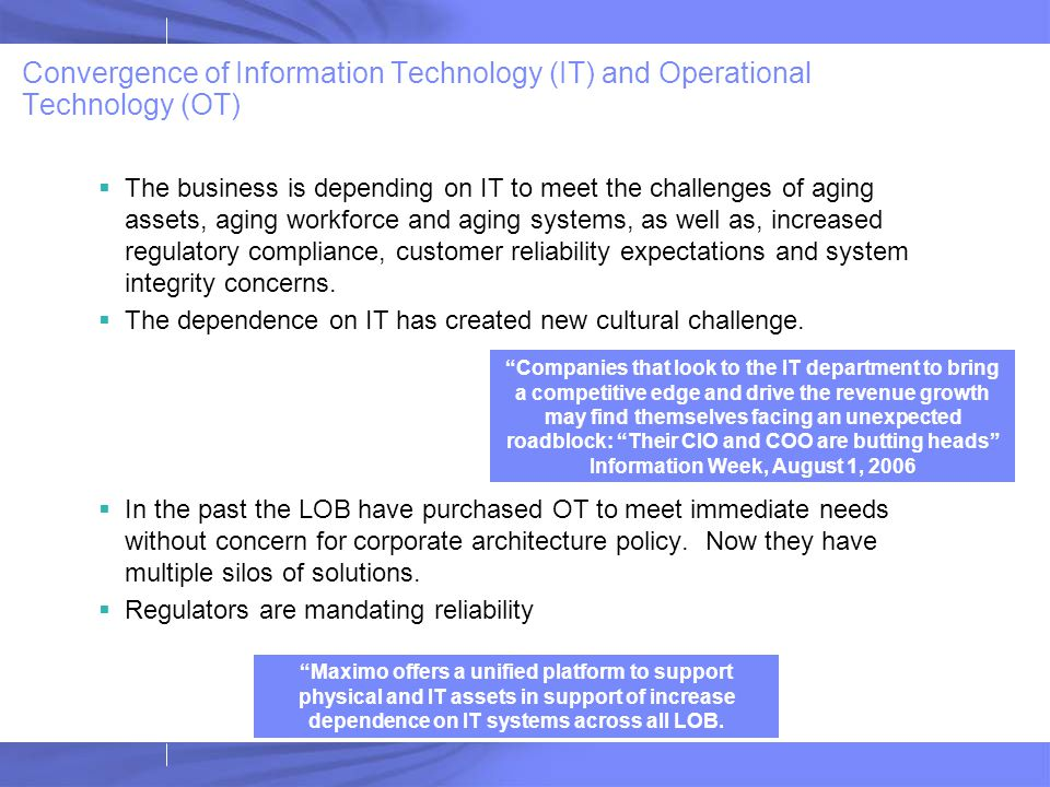 Convergence of Information Technology (IT) and Operational Technology (OT)