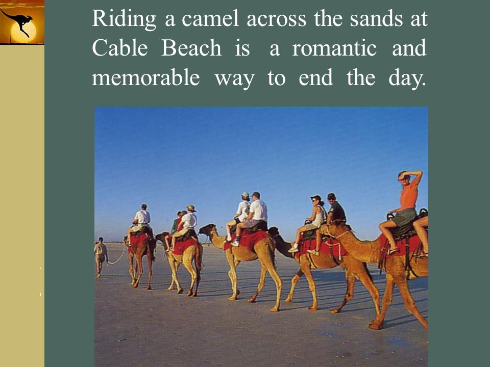Riding a camel across the sands at Cable Beach is a romantic and memorable way to end the day.