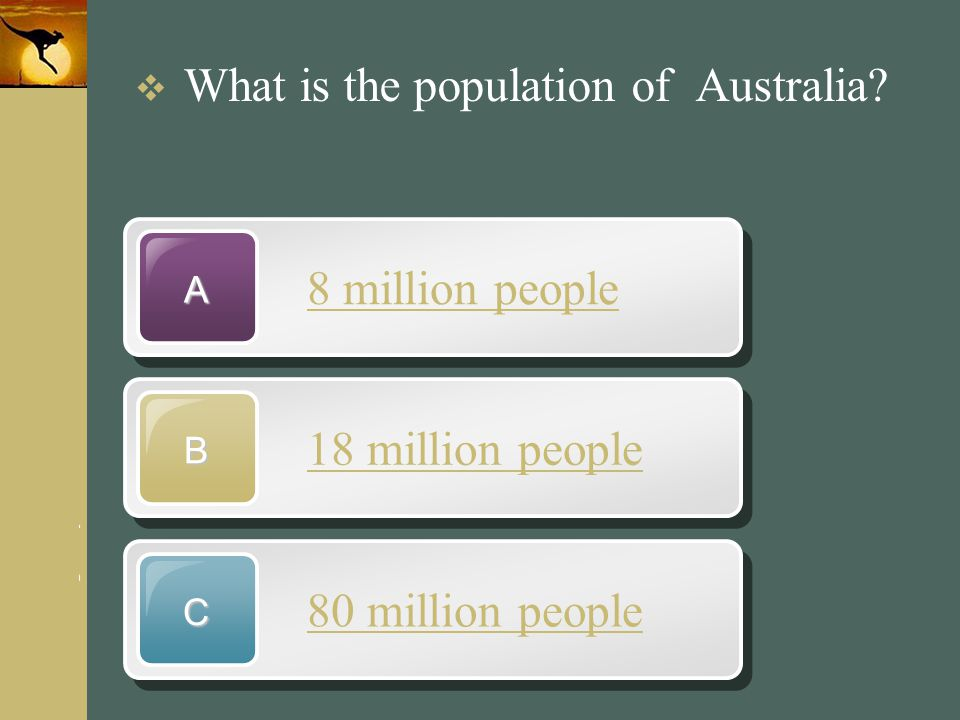 8 million people 18 million people 80 million people
