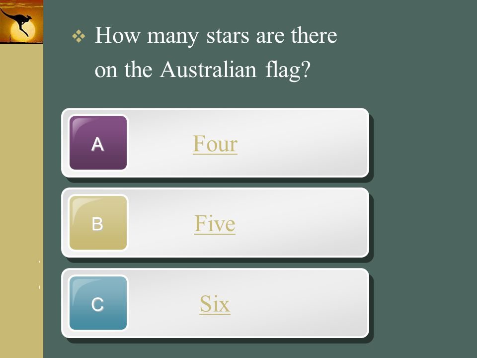 on the Australian flag Four Five Six How many stars are there A B C