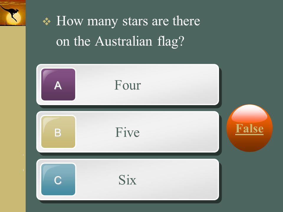 on the Australian flag Four Five Six False How many stars are there A