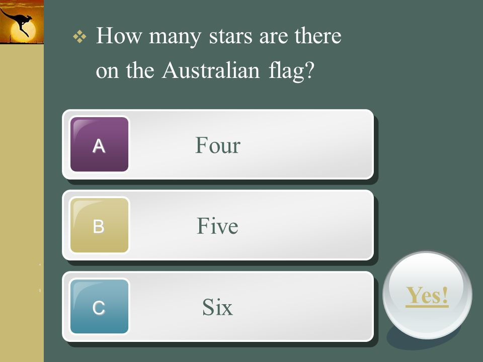 on the Australian flag Four Five Yes! Six How many stars are there A