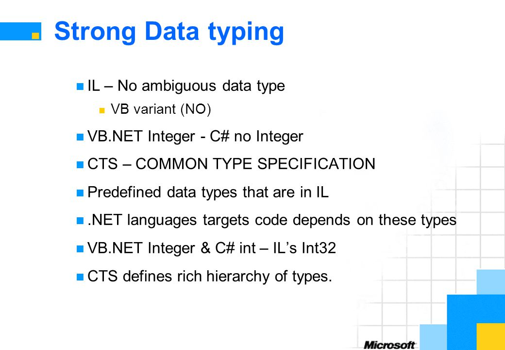 Strong Data typing IL – No ambiguous data type