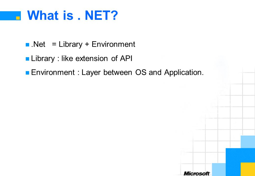 What is . NET .Net = Library + Environment