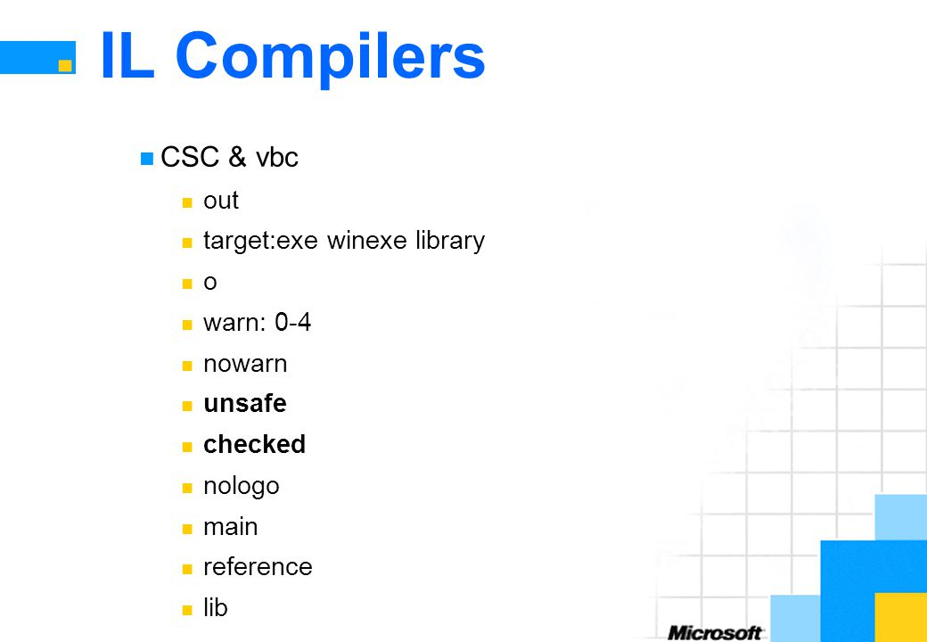 IL Compilers CSC & vbc out target:exe winexe library o warn: 0-4