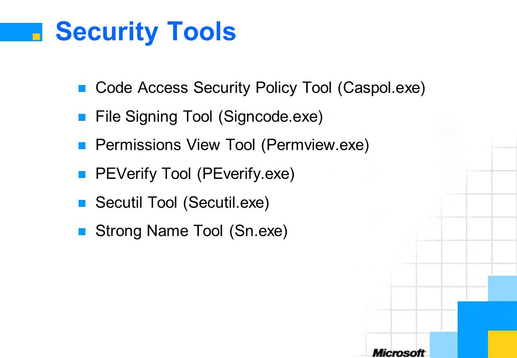 Security Tools Code Access Security Policy Tool (Caspol.exe)