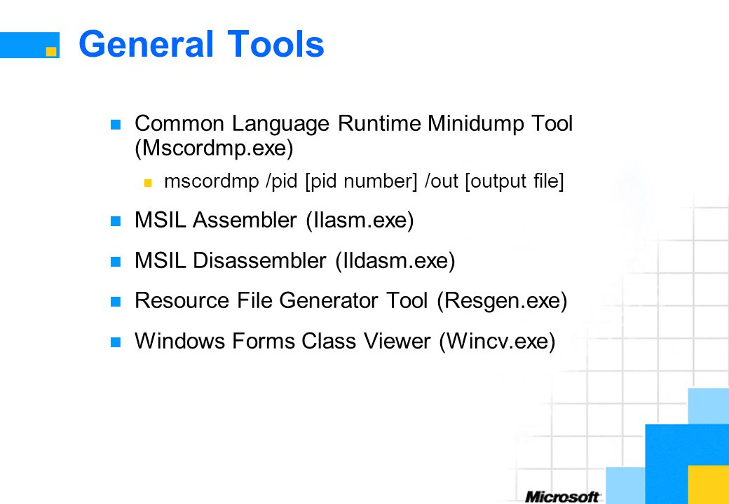 General Tools Common Language Runtime Minidump Tool (Mscordmp.exe)