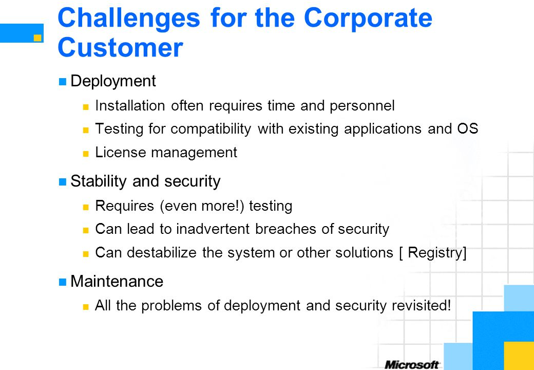 Challenges for the Corporate Customer