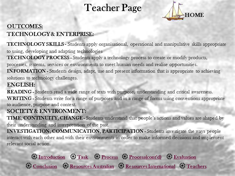 Teacher Page HOME OUTCOMES: TECHNOLOGY & ENTERPRISE: ENGLISH: