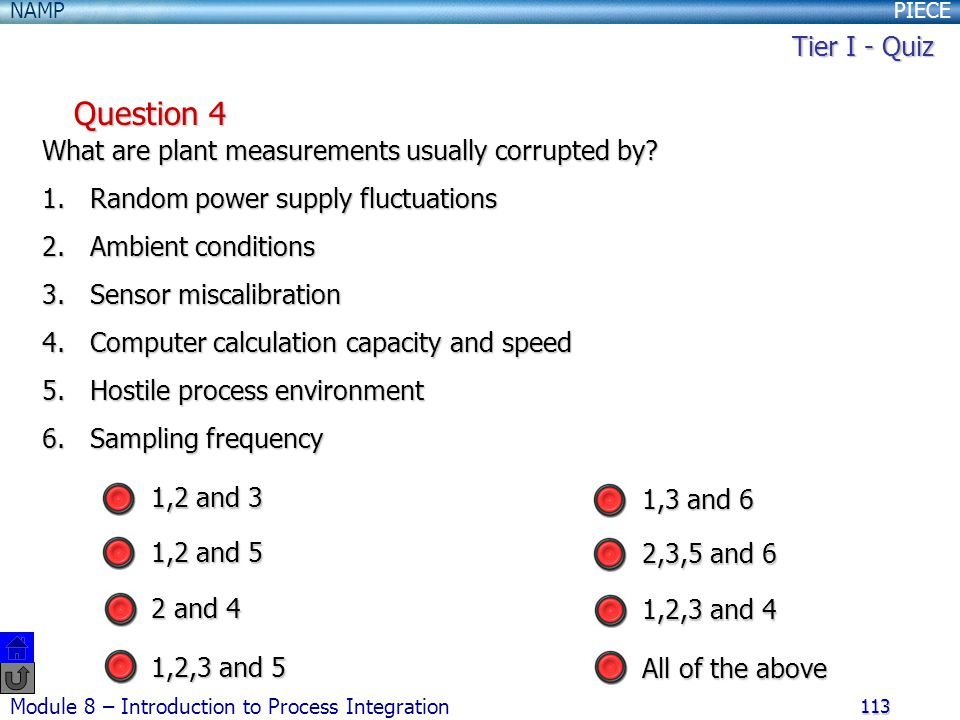 Tier I - Quiz Question 4. What are plant measurements usually corrupted by Random power supply fluctuations.