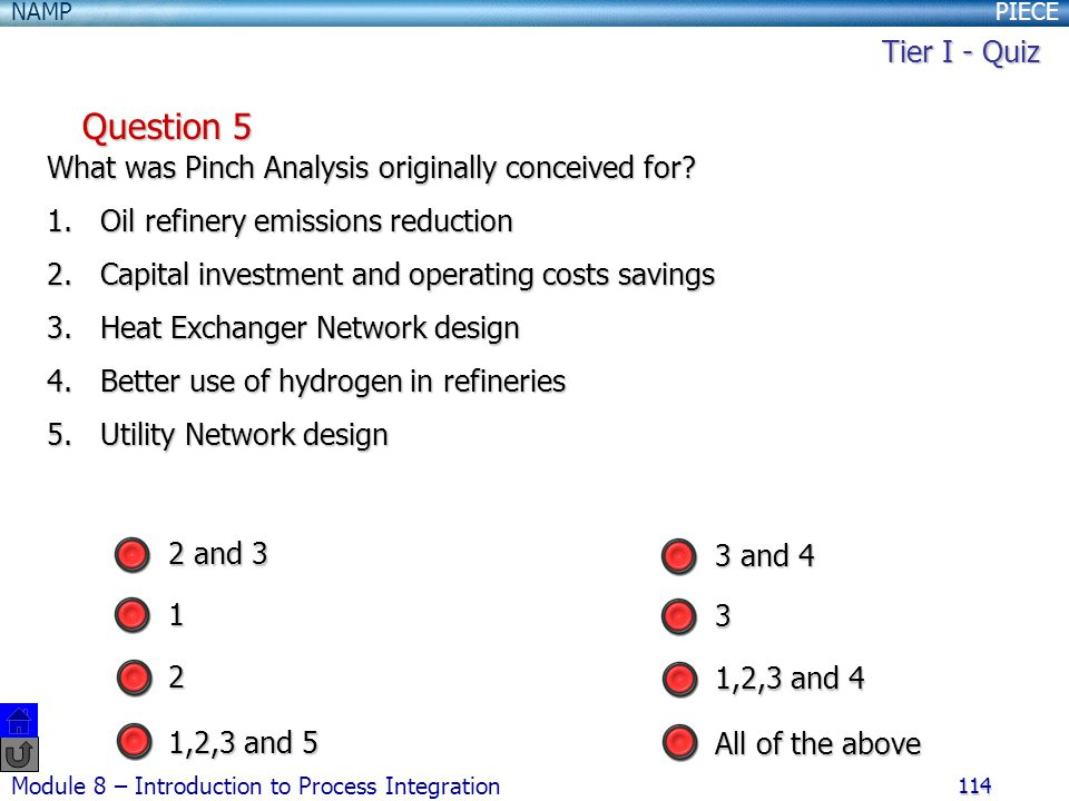 Tier I - Quiz Question 5. What was Pinch Analysis originally conceived for Oil refinery emissions reduction.