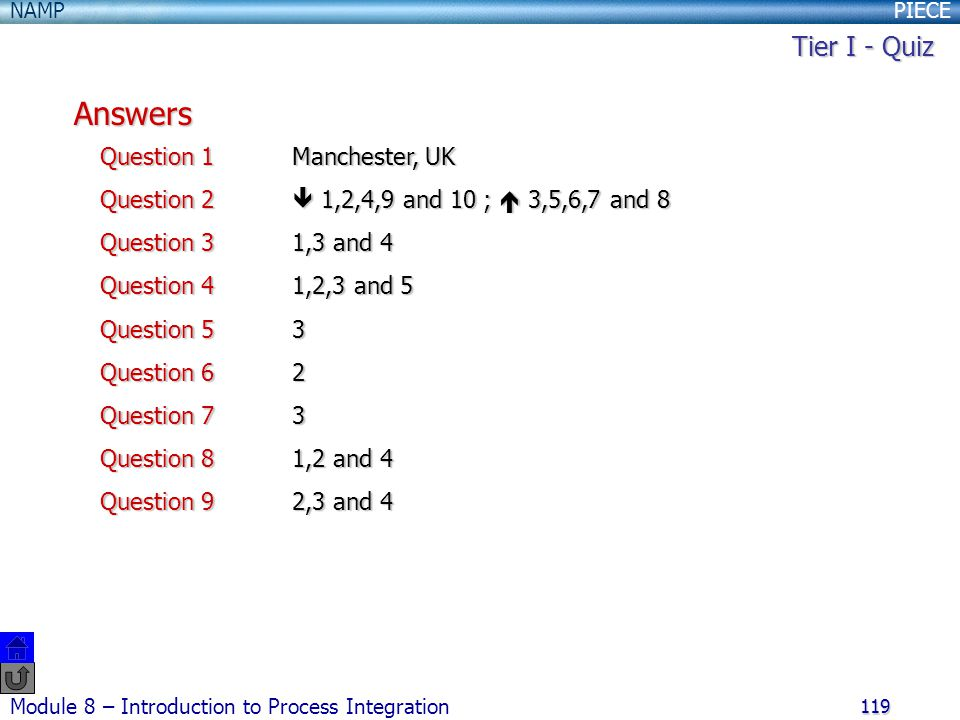 Answers Tier I - Quiz Question 1 Manchester, UK