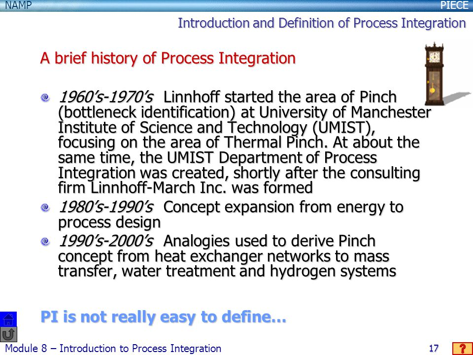 A brief history of Process Integration