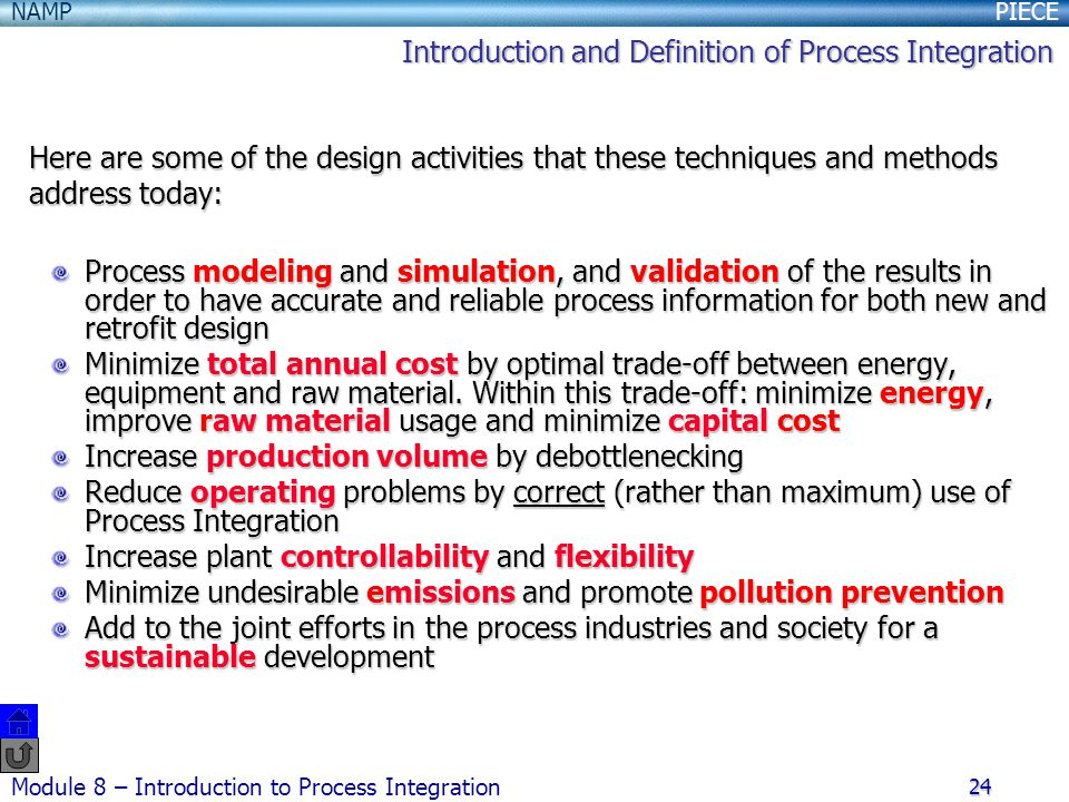 Introduction and Definition of Process Integration