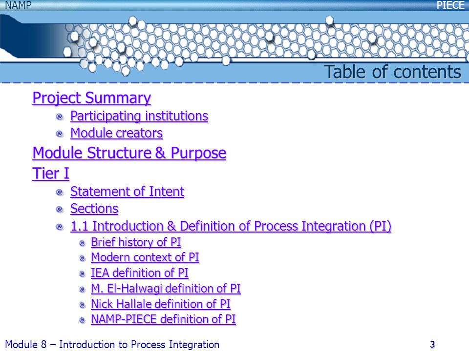 Table of contents Project Summary Module Structure & Purpose Tier I
