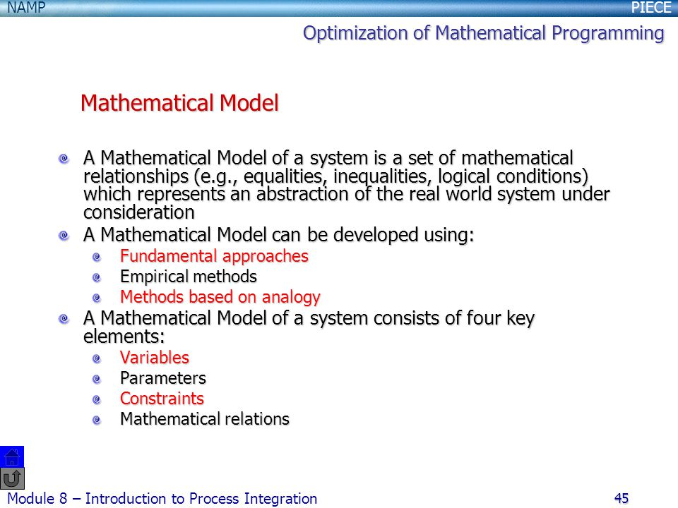 Mathematical Model Optimization of Mathematical Programming