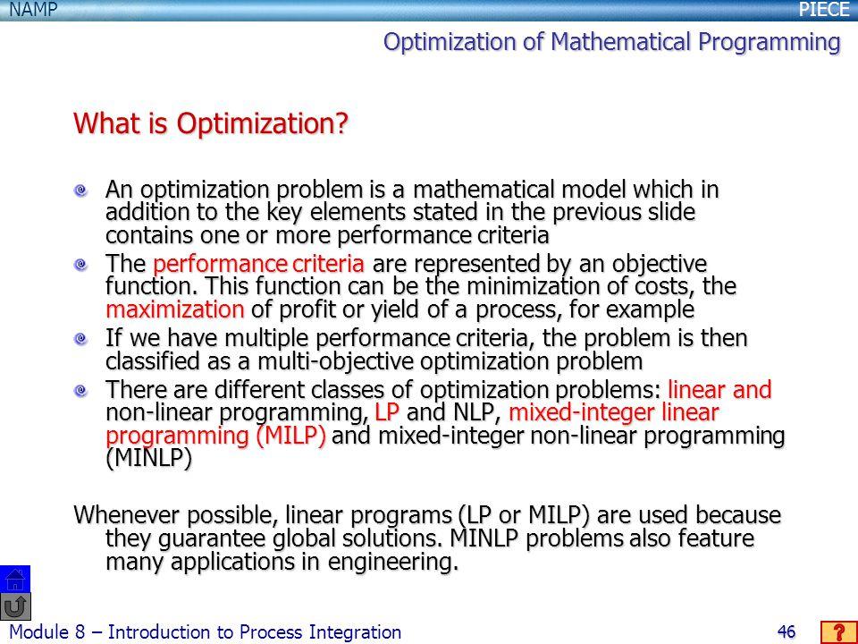 What is Optimization Optimization of Mathematical Programming