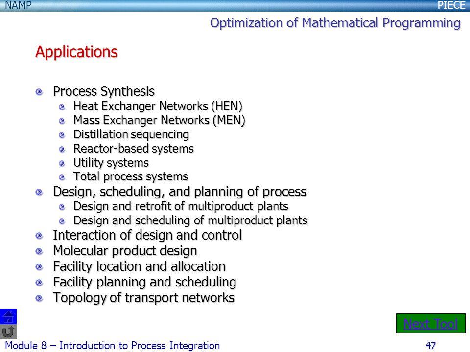 Applications Optimization of Mathematical Programming