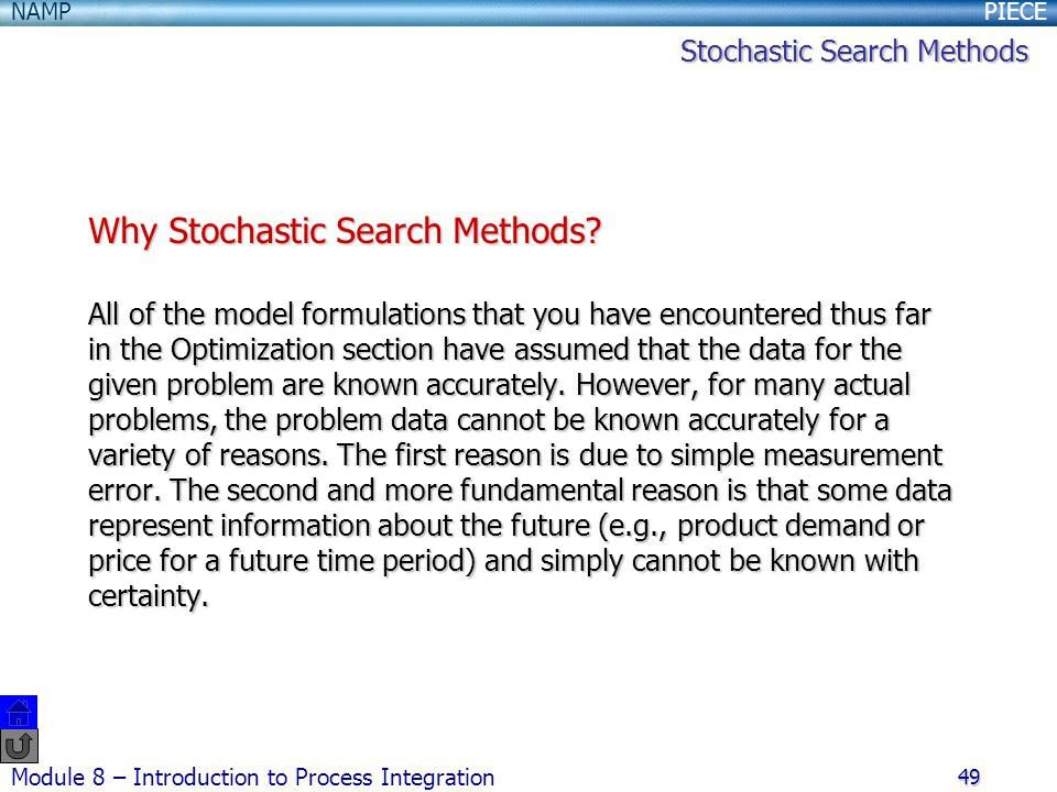 Why Stochastic Search Methods