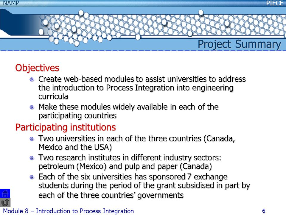 Project Summary Objectives Participating institutions