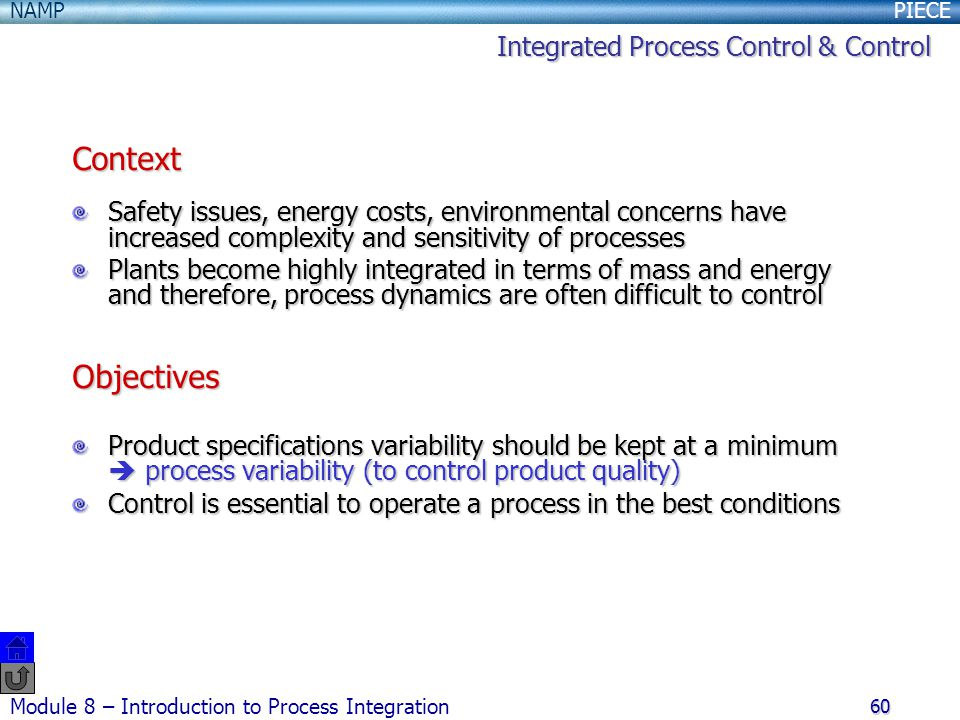 Context Objectives Integrated Process Control & Control