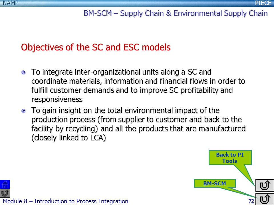 Objectives of the SC and ESC models