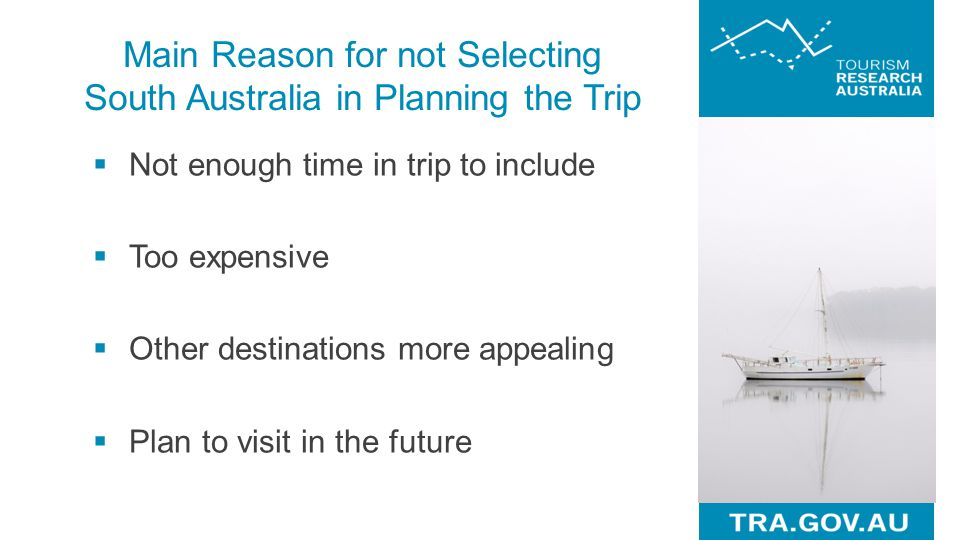 Main Reason for not Selecting South Australia in Planning the Trip