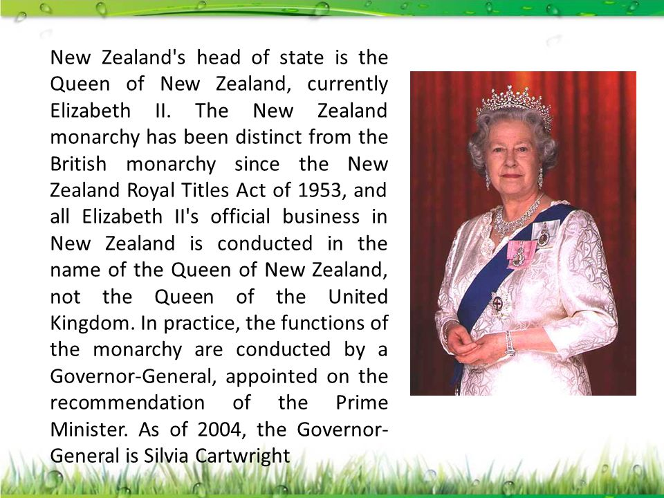 New Zealand s head of state is the Queen of New Zealand, currently Elizabeth II.