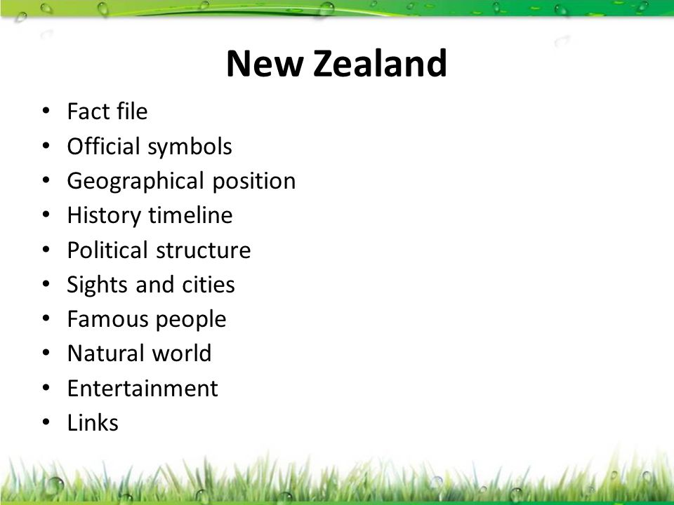 New Zealand Fact file Official symbols Geographical position