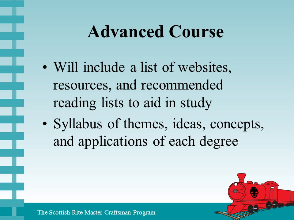 Advanced Course Will include a list of websites, resources, and recommended reading lists to aid in study.