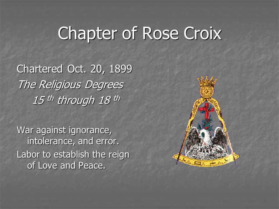 Chapter of Rose Croix Chartered Oct. 20, 1899 The Religious Degrees