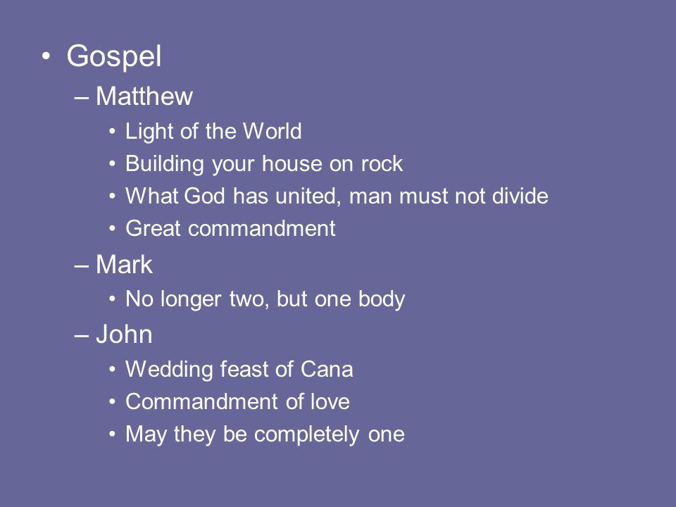 Gospel Matthew Mark John Light of the World