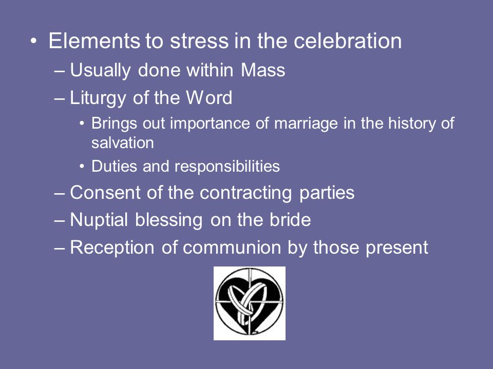 Elements to stress in the celebration