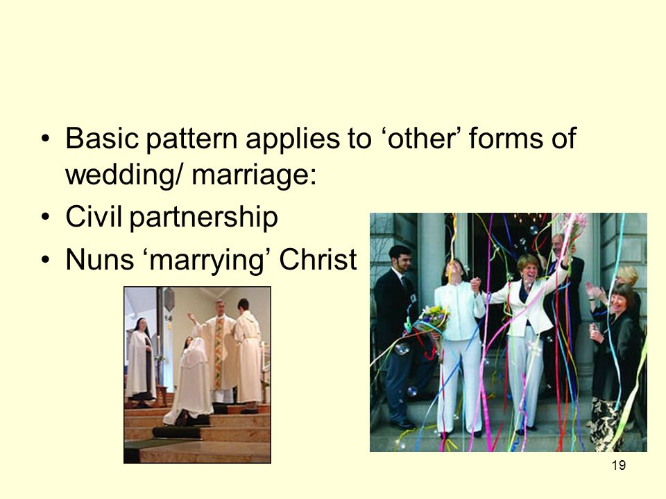 Basic pattern applies to 'other' forms of wedding/ marriage: