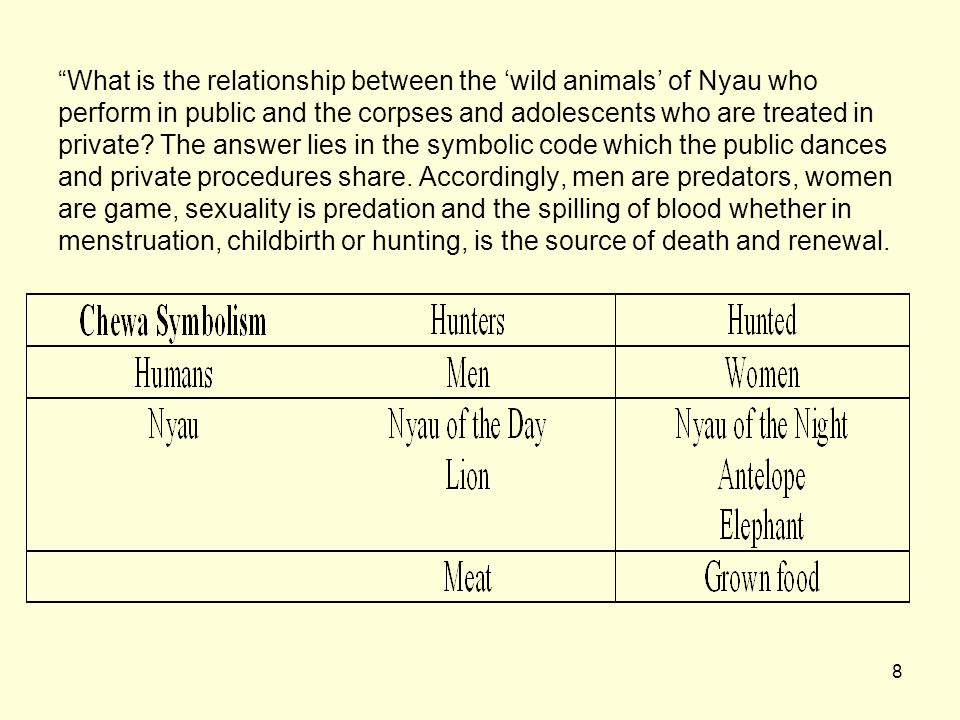 What is the relationship between the 'wild animals' of Nyau who perform in public and the corpses and adolescents who are treated in private.