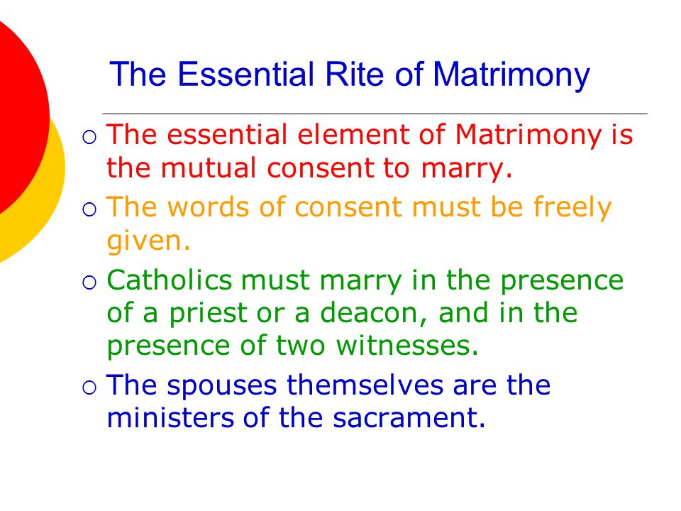 The Essential Rite of Matrimony