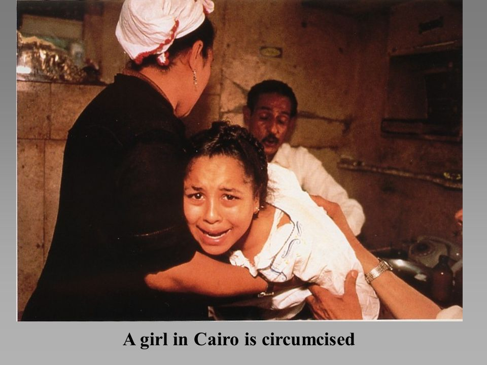 A girl in Cairo is circumcised