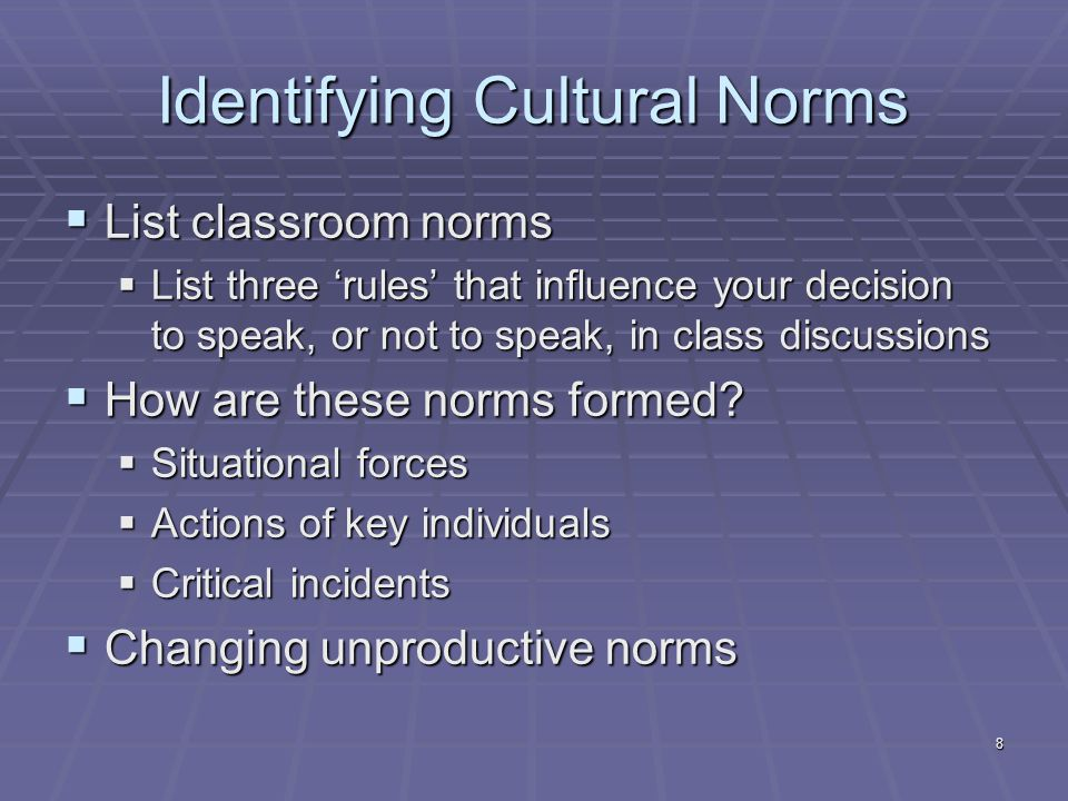 Identifying Cultural Norms