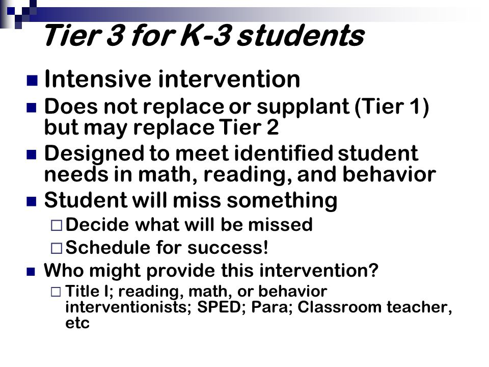 Tier 3 for K-3 students Intensive intervention
