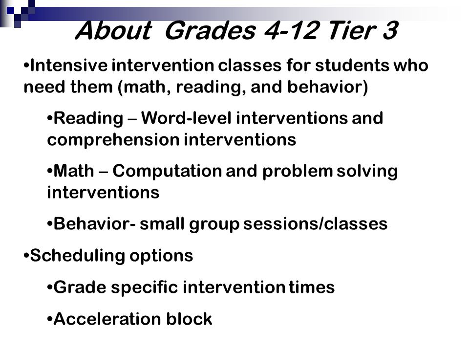 About Grades 4-12 Tier 3 Intensive intervention classes for students who need them (math, reading, and behavior)