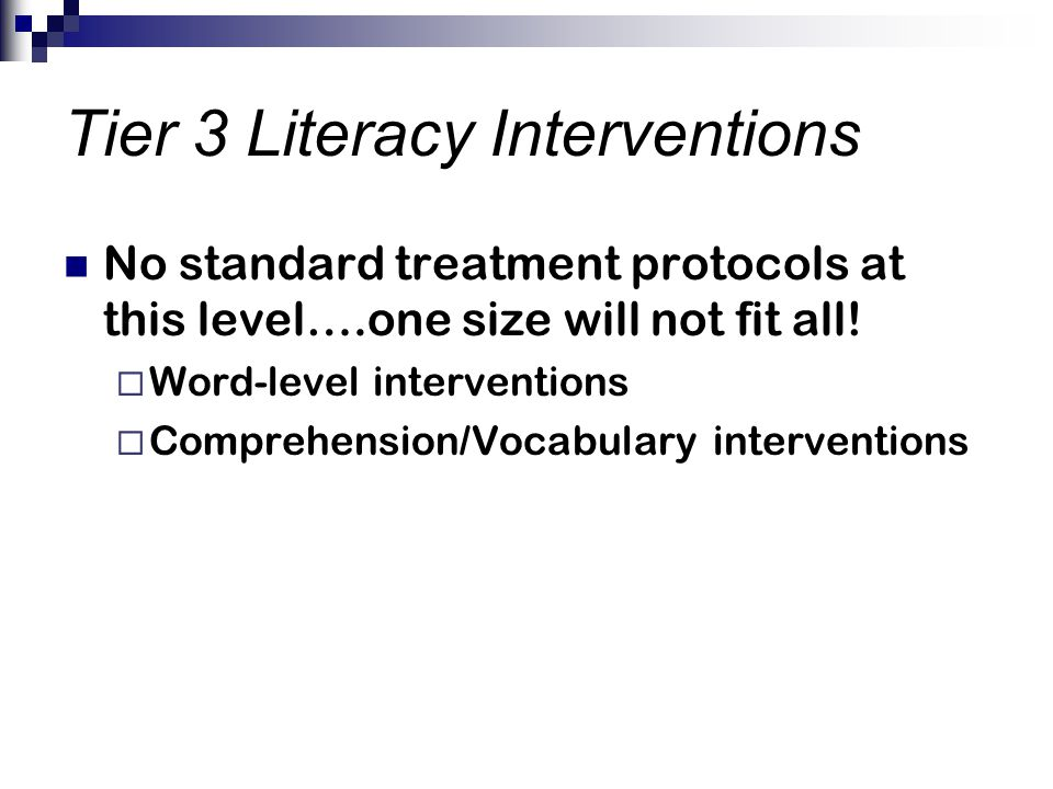 Tier 3 Literacy Interventions