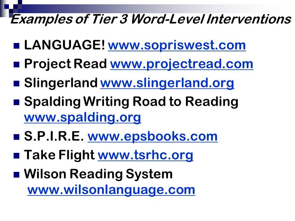 Examples of Tier 3 Word-Level Interventions