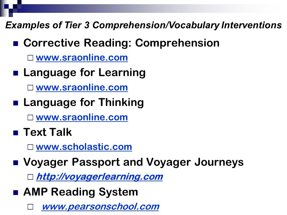 Examples of Tier 3 Comprehension/Vocabulary Interventions
