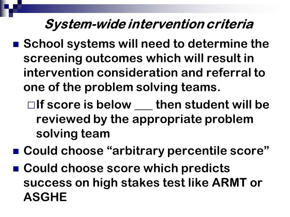 System-wide intervention criteria