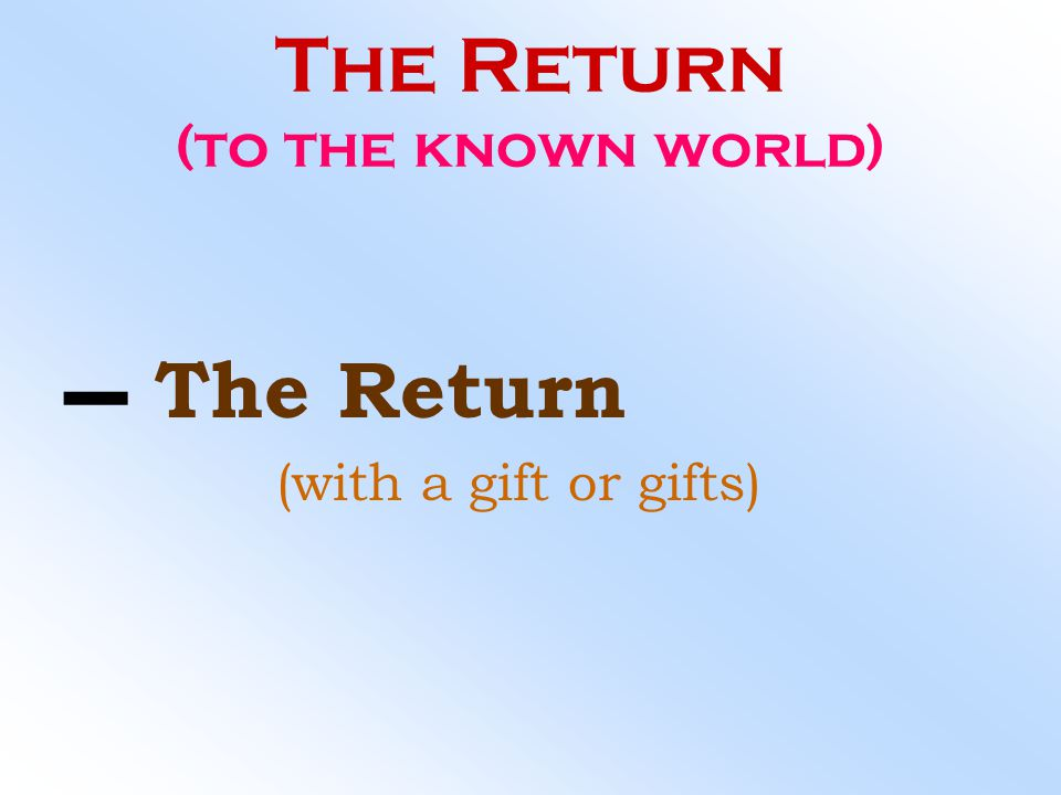 The Return (to the known world)
