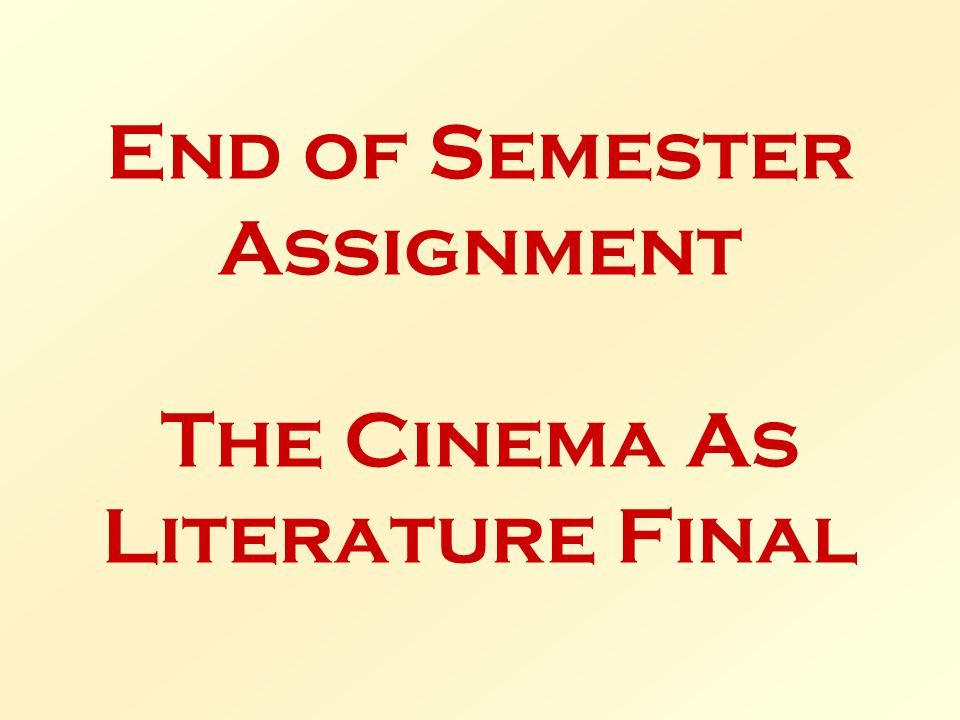 End of Semester Assignment The Cinema As Literature Final