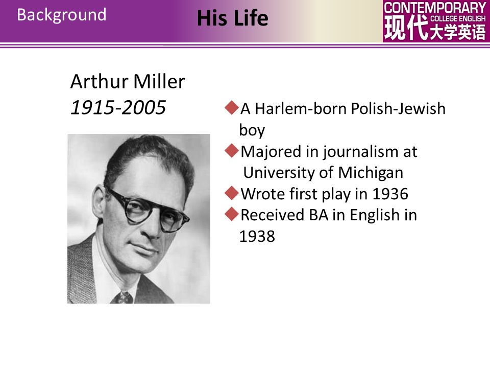 His Life Arthur Miller 1915-2005 Background