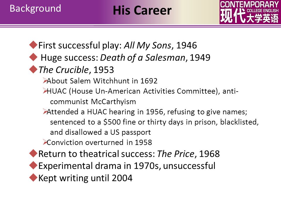 His Career Background First successful play: All My Sons, 1946