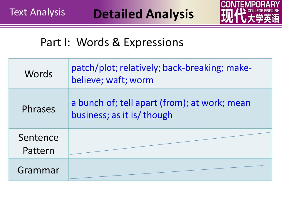 Detailed Analysis Part I: Words & Expressions Text Analysis Words