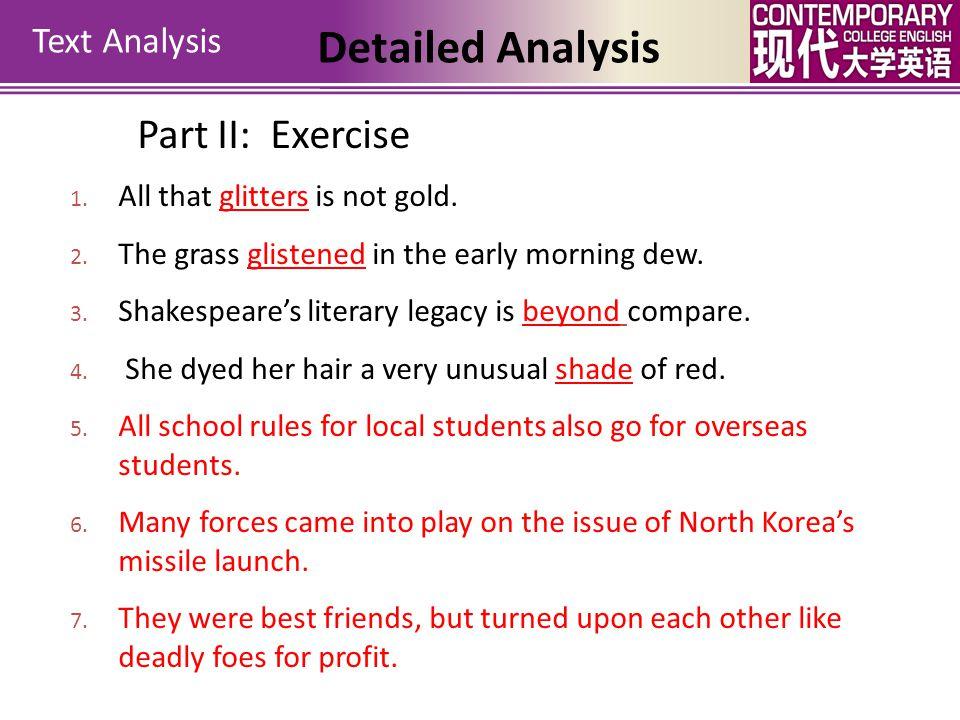 Detailed Analysis Part II: Exercise Text Analysis